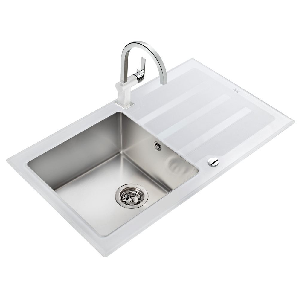 White glass kitchen sink