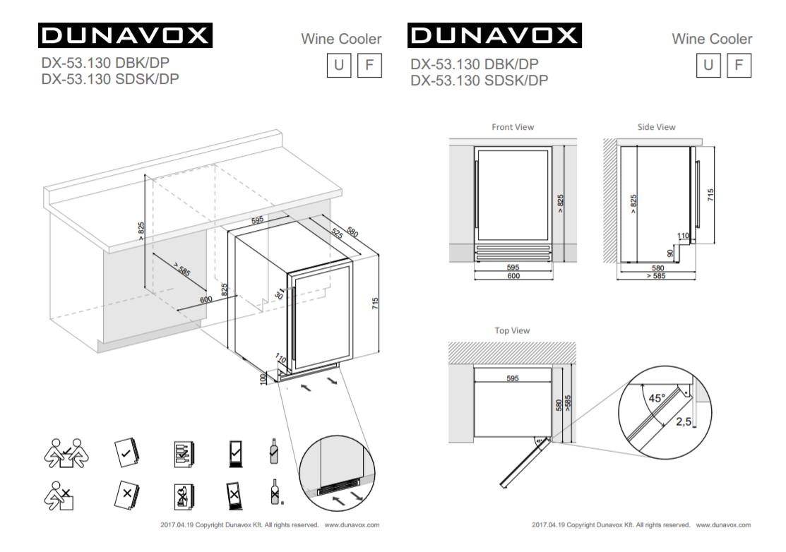 Wine cooler Dunavox DX53.130DWK/DP